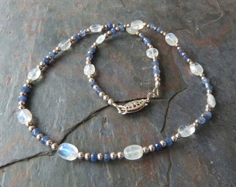 Real Sapphire & Blue Flash Moonstone Necklace with Sterling Silver, Handmade