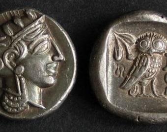 Greece Athens Drachm 5th century BC fine silver (replica coin)
