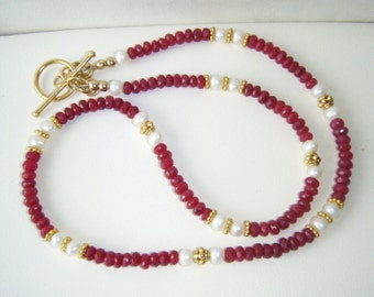 Ruby & pearl choker with gold vermeil, genuine ruby, gold jewelry