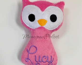 Personalized Woodland Owl Baby Rattle