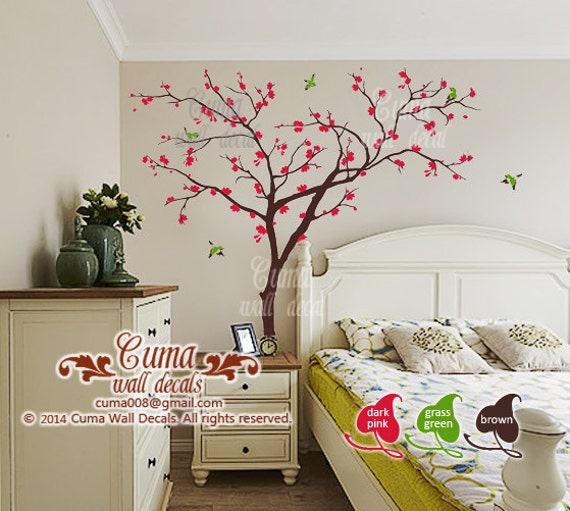 Cherry blossom tree wall decals birds and tree wall decal for Cherry blossom mural on walls