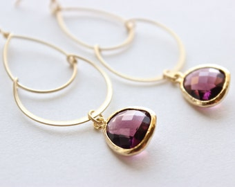 Gold Dangle Earrings - Bridal Earrings - Matte Gold Teardrop Dangle Earrings with Plum Faceted Drops
