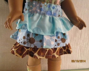 Ruffled skirt in browns and blues for American Girl dolls