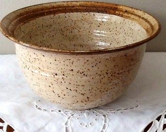 Deep Serving Bowl in Natural Speckled Clay