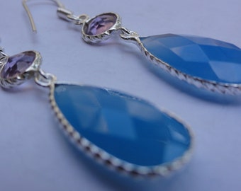 SALE long sterling silver blue  chalcedony  amethyst drop dangle earrings