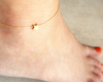 Gold Anklet Gold Ankle Bracelet Gold Star Anklet Foot Jewelry Initial Anklet Gold Anklet Bridesmaid Jewelry Gold Initial Bridesmaids Anklet