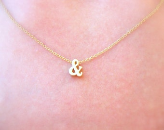 Small Gold Necklace, Gold Ampersand Necklace, Tiny Gold Necklace, Delicate Necklace, Dainty Necklace, Dainty Gold Jewelry Thin Gold Necklace