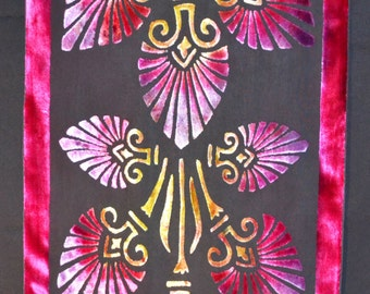 "Silk/ Viscose Velvet  Devore Hand-painted Scarf 135cm x 36cm (53"" x 36"") Raspberry, Black and Gold"