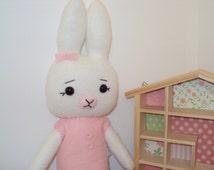 Organic Bamboo Fleece Bunny . Can be personalised