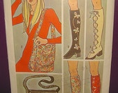 70s Knee High Go-Go Boots and Purse Pattern  / 1970s Uncut Simplicity Pattern Stocking Boots Spats / DIY Vintage 60s 70s Mod Hippie Boots