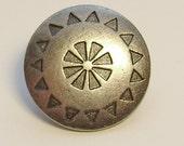 Shank Metal Button Gunmetal Geometric Pattern 15 mm