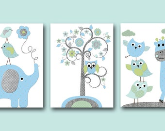 Elephant Nursery Giraffe Nursery Baby Boy Nursery Kids Wall Art Baby Nursery Decor Baby Room Decor Kids Art Boy Print set of 3 Owl Blue