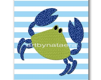 Sea Crab Nursery Kids Wall Art Baby Boy Nursery Art Print Children Wall Art Baby Room Decor Kids Print Nursery Decor Boy Blue Green