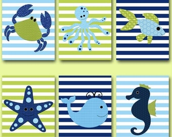 Baby Boy Nursery Art Nursery Wall Art Kids Room Decor Kids Art Fish Nursery Whale Nursery Crab Nursery Boy Print set of 6 Blue Green