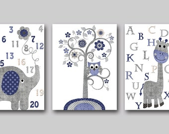 Childrens Art Kids Wall Art Kids Art Alphabet Baby Boy Room Decor Baby Boy Nursery Kids Room Decor Baby Nursery Print set of 3 Gray Navy