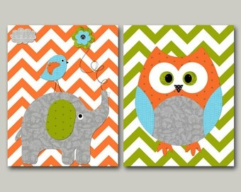 Owl Decor Elephant Nursery Canvas Owl Nursery Art for Children Kid Wall Art Baby Room Decor Baby Nursery Print Baby Nursery Decor set of 2 /