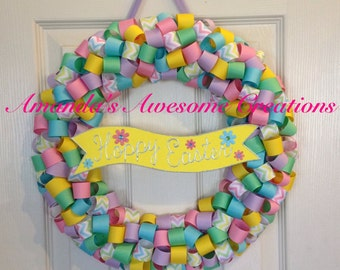 Hoppy Easter Ribbon Wreath