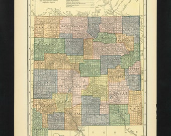Vintage Map New Mexico From 1926 Original