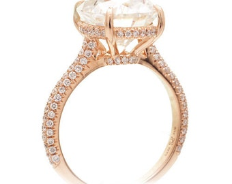 18K Rose Gold 9x7mm Oval Cut Two Carat Moissanite and Diamond Ring with One matching fitted band