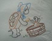 Flour sack Dishtowel - Hand Embroidered - Cartoon Turtle - bath