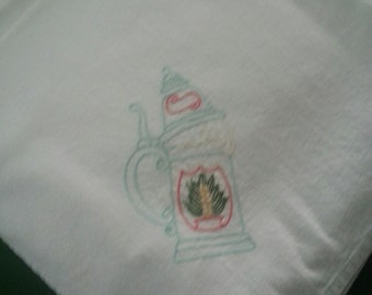 Flour sack Dishtowel - Hand Embroidered - European Beer Stein