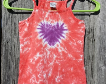 Toddler 4T Tie Dye Heart Tank Top, Girls XS, Pink and Purple