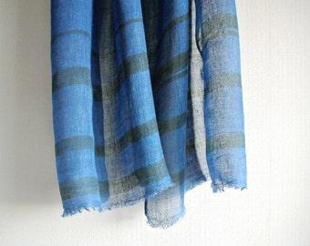 S A L E  Natural Indigo dyed green striped Linen scarf