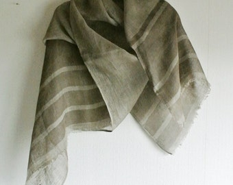 S A L E  Natural Bayberry dyed random horizontal-striped Linen scarf