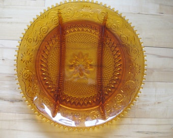 Tiara Sawtooth Amber Daisy 12 inch Serving Divided Platter Indiana Glass Very good IOB