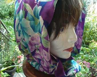 Woman's Head Scarf - Silk Scarf - Long Scarf - Vintage Jacket Scarf - Woman's Hair Cover - Head Covering - Fashion - Long Bow Scarf