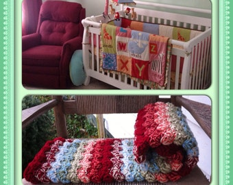 Double Yarn Crib sized blanket designed to match your nursery
