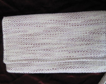Orchid Boucle Clutch, Orchid and Cream Tweed, 11 x 6 inches, Removeable Wristlet Strap, Inside Pockets,Magnetic Snap Closure