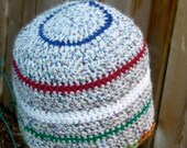Simple comfort Tan white red contrast with a mellow tone Handmade crochet beanie hat