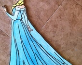 Hand painted Disney frozen Elsa wall decor birthday party decoration prop hanging