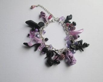 Barbie Shoe  Bracelet/ Lavender  and Black  / ITEM 3662
