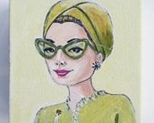 Grace, beautiful original painting of a vintage woman in tinted glasses and head wrap.