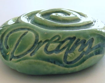 "Pocket Stone ""DREAM"" with SPIRAL - Ceramic - AQUAMARINE Art Glaze - Inspirational Art Piece"