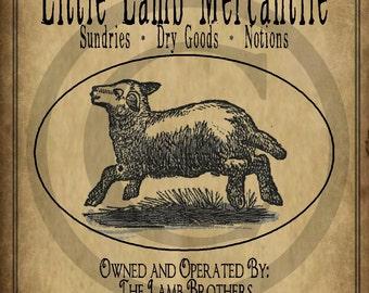 Primitive Little Lamb Sheep Mercantile Jpeg Digital  Image Pantry Label Feedsack Logo for Pillows Labels Hang tags Magnets Ornies