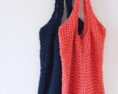 SALE big cotton NAVY BLUE beach bag, market tote, shopping bag.