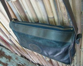 Vintage Leather Cowhide Brahmin Cross body Shoulder Bag Two Toned Muted Greenish Charcoals