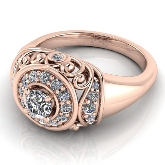 vintage style moissanite halo engagement ring