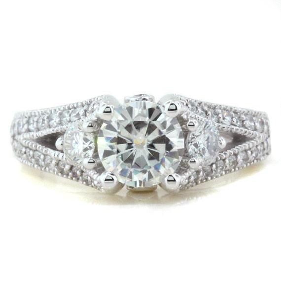 Moissanite Engagement Ring Diamond Side Stones 14k Gold Name  Split Shank 3 Stone