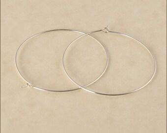 """Hoop Earrings - 1-1/4"""" (35mm) Silver Hoop Earrings, Small Hoop Earrings, Sterling Silver Hoop Earrings, Thin Hoop Earrings, Silver Hoops"""