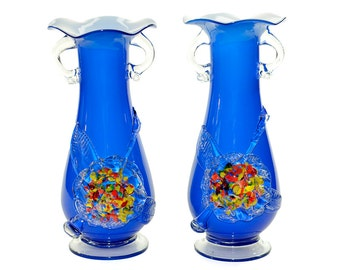 Blue Art Glass Ruffle Vase Pair - Large Size, White Interior, Cased with Applied Floral Details, Scroll Urn Handles - Vintage Home Decor