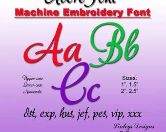 Downloadable Machine Embroidery Alphabet: Adore Font.