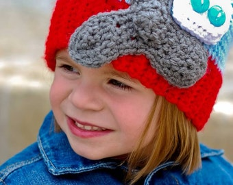 Crochet Airplane Beanie Hat