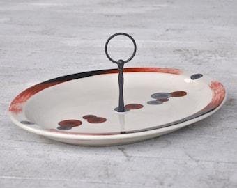 Coins: Serving Platter With Handle,  Vintage Restaurantware Serving Tray, Orange, Black