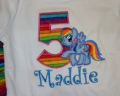 Rainbow Dash Pony birthday Shirt, My little Pony, Personalized Shirt, Embroidered, Appliqued, Monogrammed