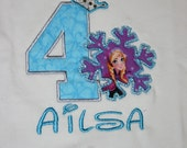 Ari's Angels Personalized Girls Frozen Birthday, Frozen Shirt Embroidered, Appliqued, Monogrammed