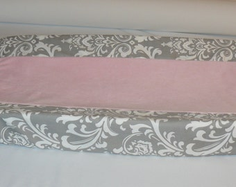 Changing Pad Cover , Light Baby Pink, Gray , Damask, Custom Made